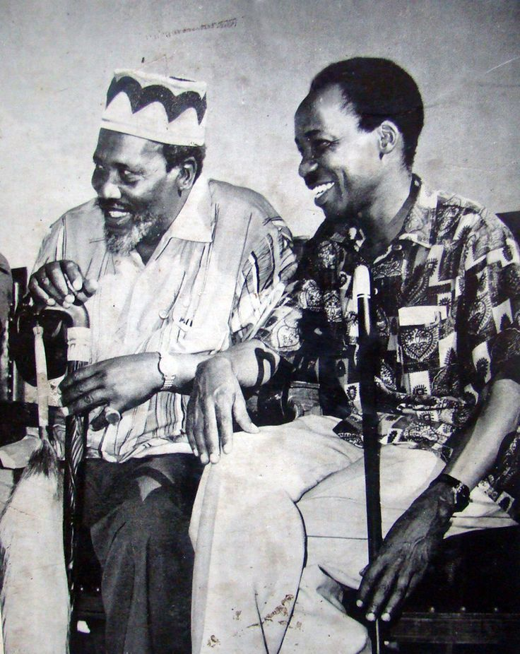 Jomo Kenyatta (Kenya's 1st president) with Julius Nyerere (Tanganyika* & Tanzania's 1st president) (*Tanganyika was formerly an independent nation, in 1964, Tanganyika united politically...
