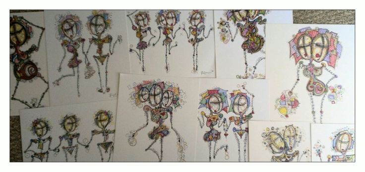 Many StickPeople on paper. Now hanging at Gallery On The Edge. Florida By Kim Dean