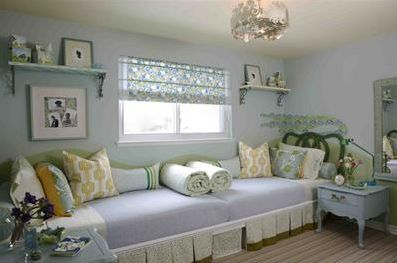 just watched this! Sarah 101: platform bed solution banishes bunk beds forever. Love wall to wall platform bed and all the cute functionality in this small room for 2 girls.