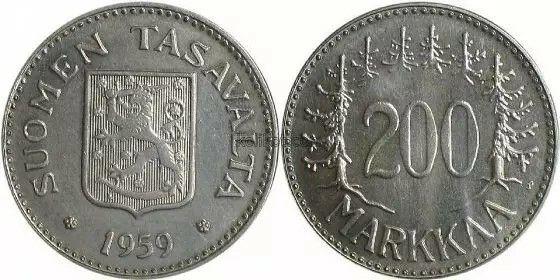 Finland 200Markkaa silver