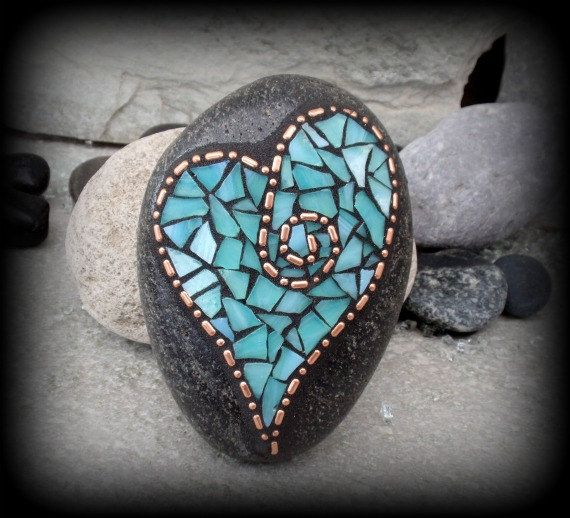 Copper and Teal Valentine Heart - Mosaic Rock Paperweight / Garden Stone                                                                                                                                                                                 More