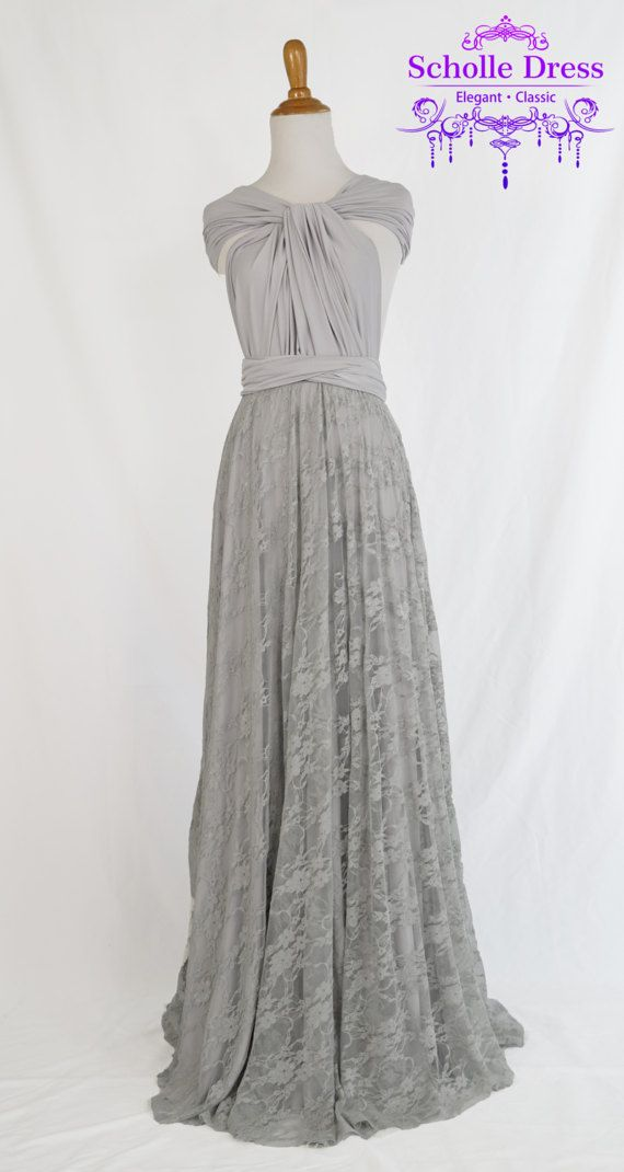 Silver grey Infinity lace Dress  bridesmaid by ScholleDress