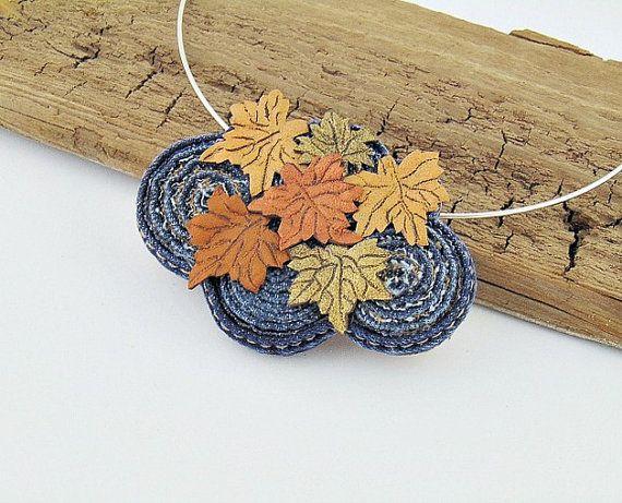 leather denim necklace leather denim jewelry denim by styledonna