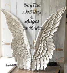 Angel wings made out of cardboard painted white and dry brushed them grey. - Pesquisa Google