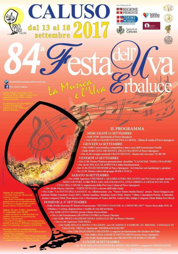 Caluso : Festa dell'Uva Erbaluce, dal 13 al 18 settembre 2017 Il programma dell'ottantaquattresima edizione della manifestazione, patrocinata dalla Città Metropolitana di Torino, prevede eventi artistici e musicali, le sfilate, il palio, l'incoronazione della N #caluso #uva #erbaluce