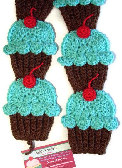 How about a crochet cupcake scarf!