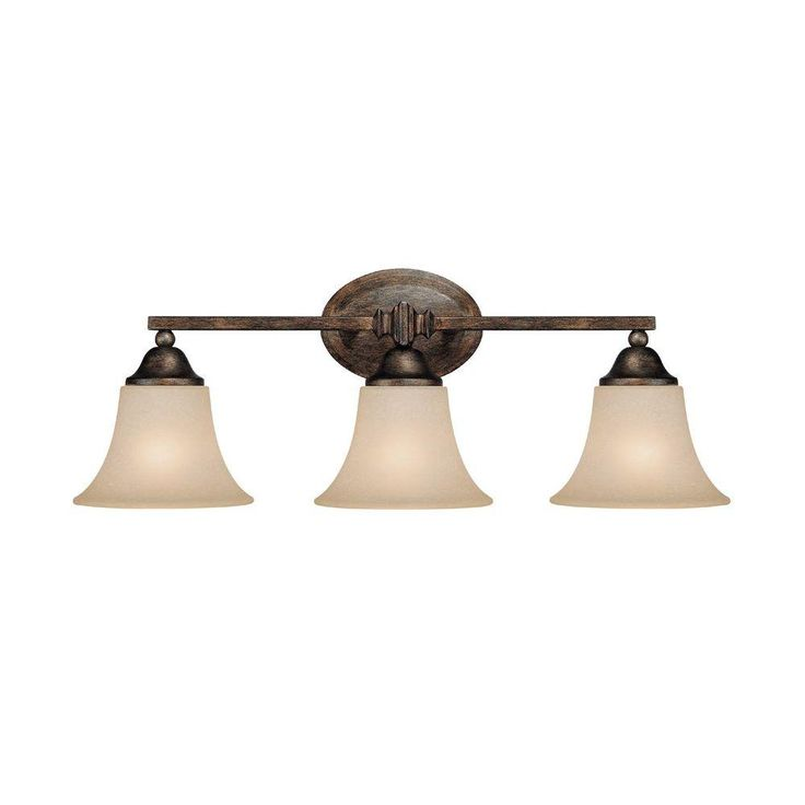Filament Design Johnson Collection 3-Light Rustic Vanity Light with Mist Scavo Glass