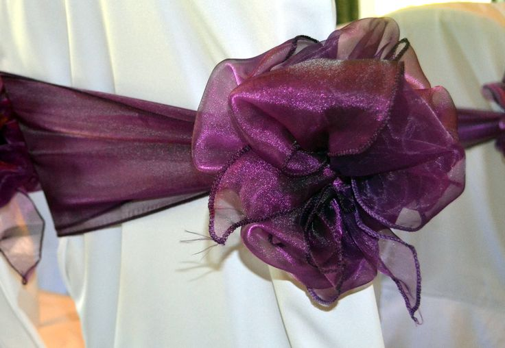 Double Dark Purple and Cadburys Purple Organza Chignon Bows on White Chair Covers  The Sophisticated Touch ...Chair Covers by Design