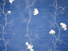 EMB49 - Blue and White flower stripes on blue
