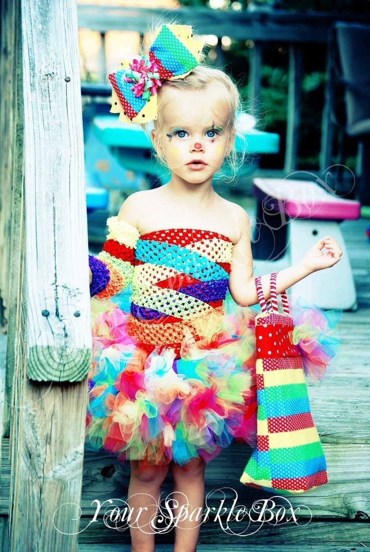 Clown Costume Petti Tutu set plus legwarmers and bow, via Etsy. A colorful and cute Halloween costume for a little girl!