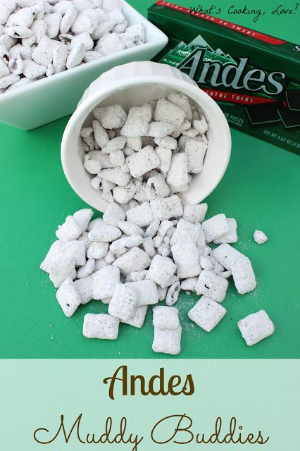 Andes Muddy Buddies.  Chex cereal coated with melted Andes and covered with powdered sugar.  This mint chocolate snack is easy to make and tastes delicious. #muddybuddies #mint #chocolate