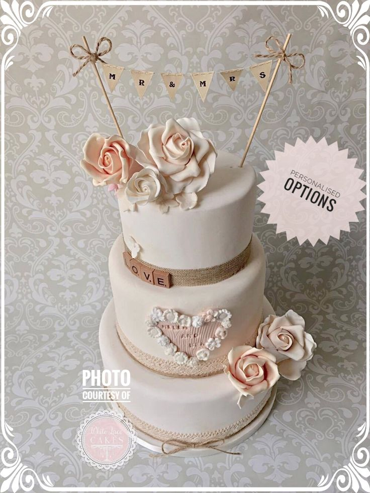 Simple but sweet Mr and Mrs wedding cake topper bunting!