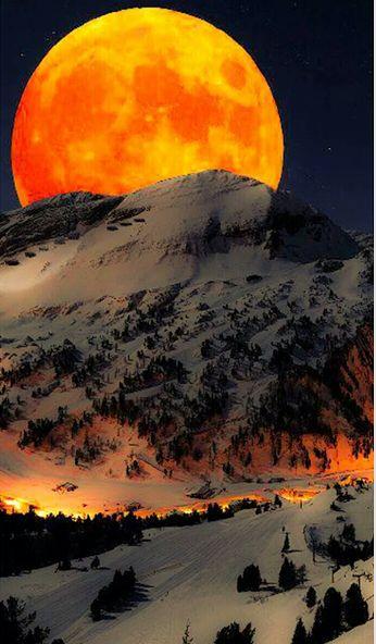 mountains, moon