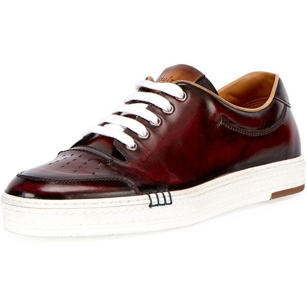 Berluti Calf Leather Tennis Shoe (86.565 RUB) ❤ liked on Polyvore featuring men's fashion, men's shoes, men's sneakers, red, mens tennis shoes, mens tennis sneakers, mens lace up shoes, berluti men's shoes and mens red sneakers