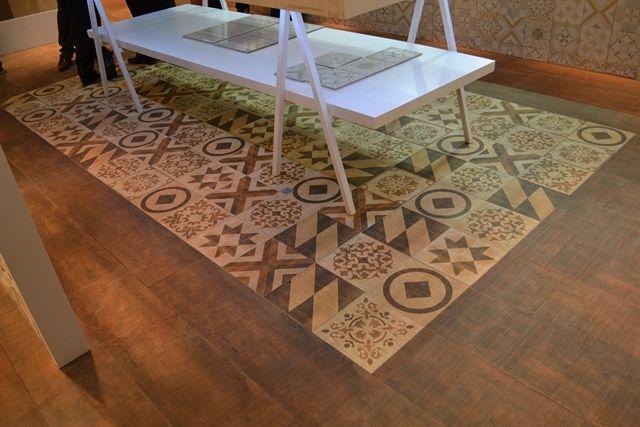 Porcelanato imita madeira e ladrilho hidráulico - Biancogres