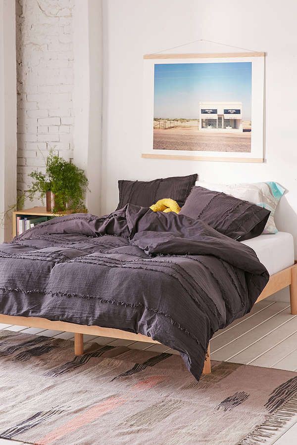 URBAN OUTFITTERS HOME DARK CHARCOAL WILLOW FRINGE DUVET COVER QUEEN / FULL #UrbanOutfittersHome