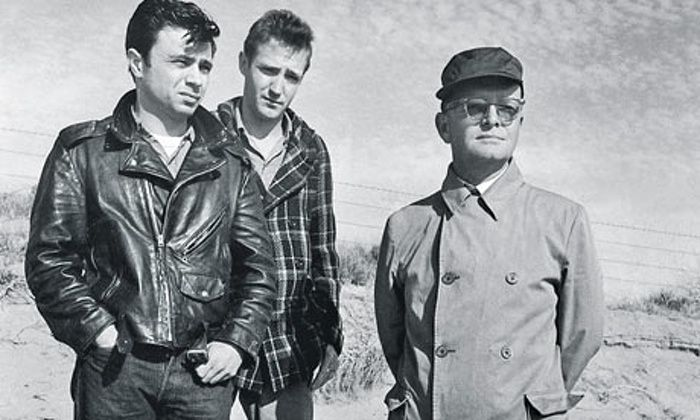 Robert Blake, Scott Wilson and Truman Capote during the filming of In Cold Blood (1967).