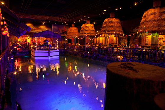 The floating boat on the lagoon in the Tonga Room and Hurricane Bar, San Francisco    Photo: Marla Aufmuth