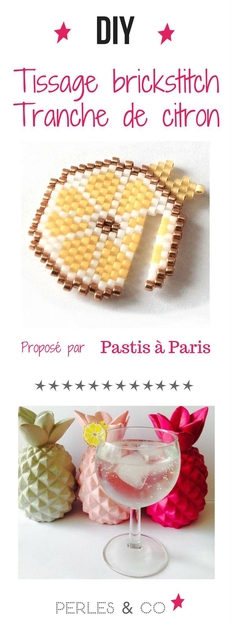 Karyne de @Pastisaparis a proposé le tissage brick stitch d'une tranche de citron à utiliser comme un marque verre, pratique non ? On voit déjà ce tissage décorer tous nos jolis coktails de cet été !