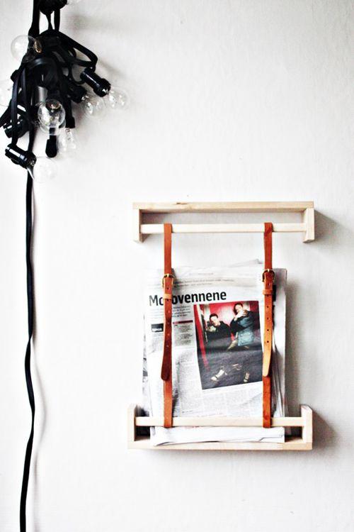 gewürzregale + gürtel = design-zeitungshalter
