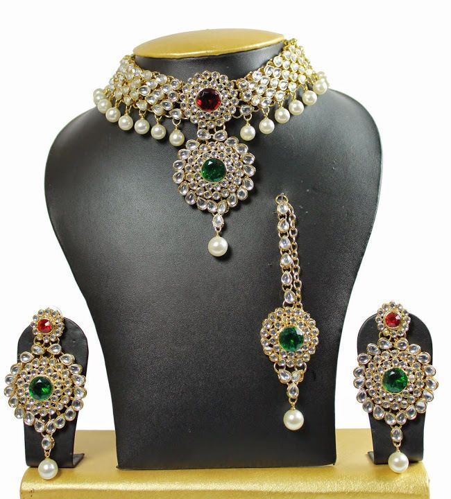 Red And Green Indian Bollywood Bridal Wedding Kundan Gold Plated Necklace Set #uniquegemstone17 #Chokkar