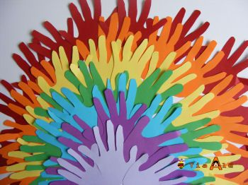 Rainbow of hands. - Noah's ark theme to decorate the hallway or room??