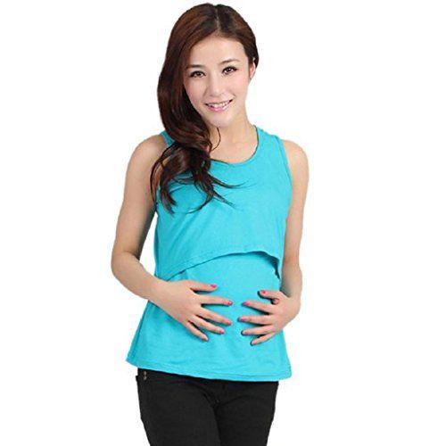 Ineternet Enceinte Vêtements de Maternité Nursing Tops T-shirt Allaitement Vest (Bleu Ciel): Fonctionnalité: Elasticité, confortable,…