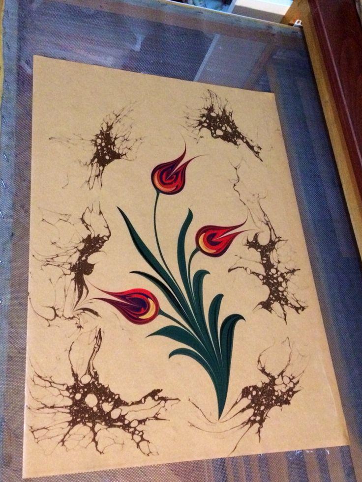 Tulip marbling artist Firdevs Çalkanoğlu