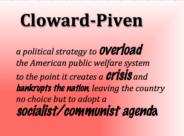 Google Cloward-Piven. This is exactly what's happening to America. OBAMA WAS TRAINED IN THIS, AND IS APPLYING IT!