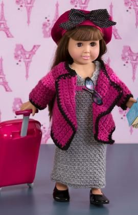 #Free Pattern; crochet; 18 inch doll; world traveler outfit ~~