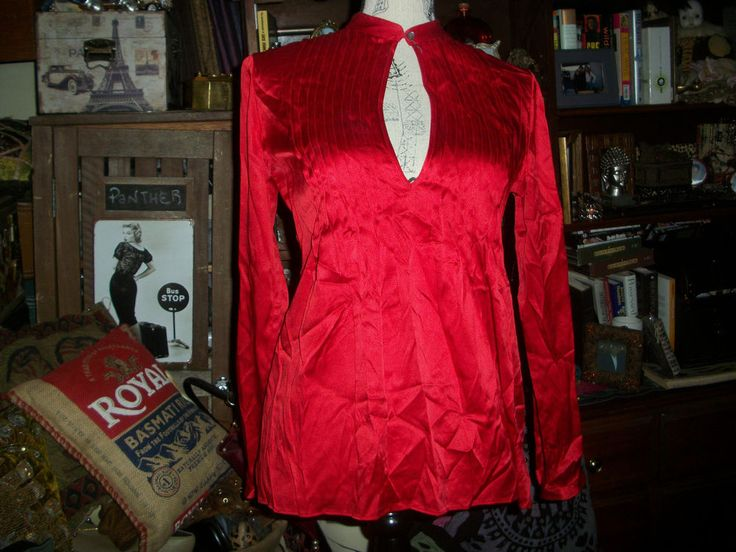 THEORY Sassy Firecracker Engine Red Bianca  Silk Blouse Size S #THEORY #Blouse #Casual