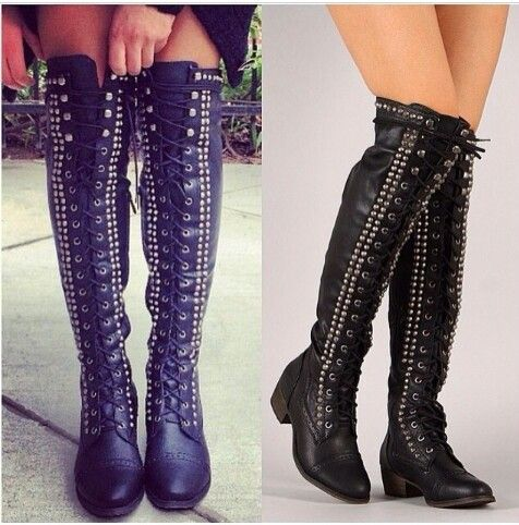 Over The Knee Studded Boots Tsaa Heel
