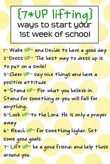 7-Up Lifting - first week of school handoutBack To Schools, 7Up, Cute Ideas, 1St Weeks, Young Women, Kids, Schools Years, Good Advice, Backtoschool
