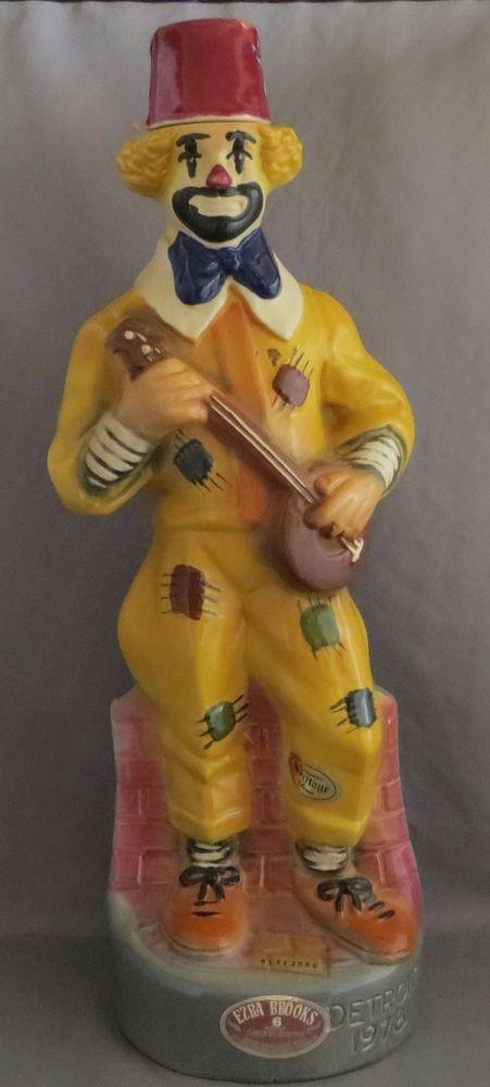 Vintage Clown Statue Decanter Ezra Brooks Whiskey Detroit Shriners 1978 Empty