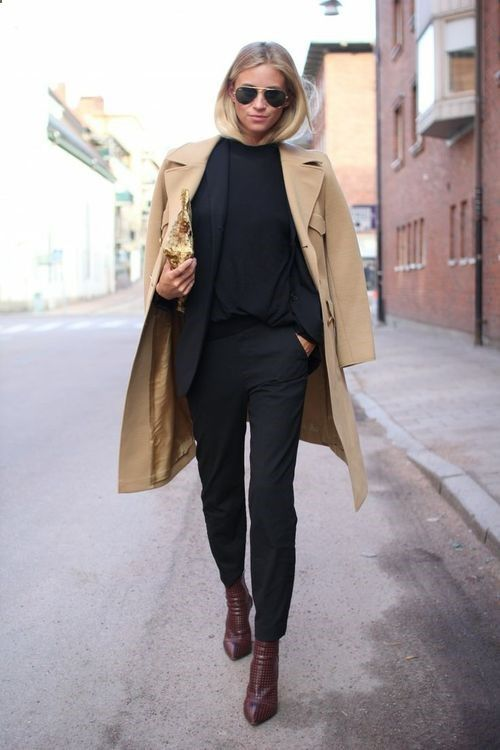 Dress to impress in a camel coat and black skinny pants. Round off this look with burgundy leather ankle boots. Shop this look for $186: lookastic.com/... — Black Skinny Pants — Burgundy Leather Ankle Boots — Gold Sequin Clutch — Camel Coat — Black Blazer — Black Long Sleeve T-shirt