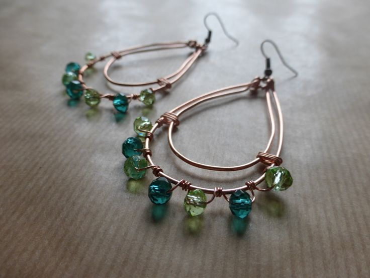 Summer Earrings Copper Loops With Green and Turquoise Glass Crystal Beads by TheCatAndTheClasp on Etsy
