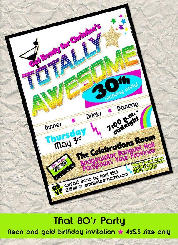 80's Neon birthday party invitation  4x5.5 by NeverStopCelebrating, $10.20