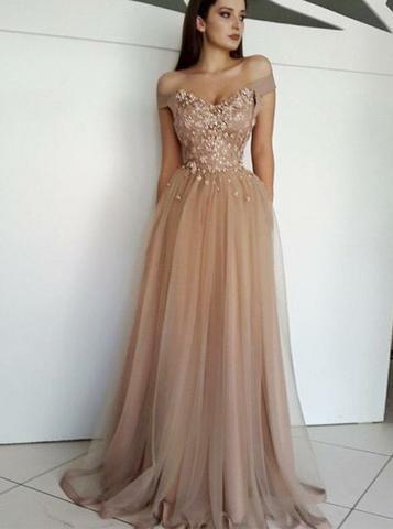 Beading Off Shoulder Champagne Prom Evening Dress