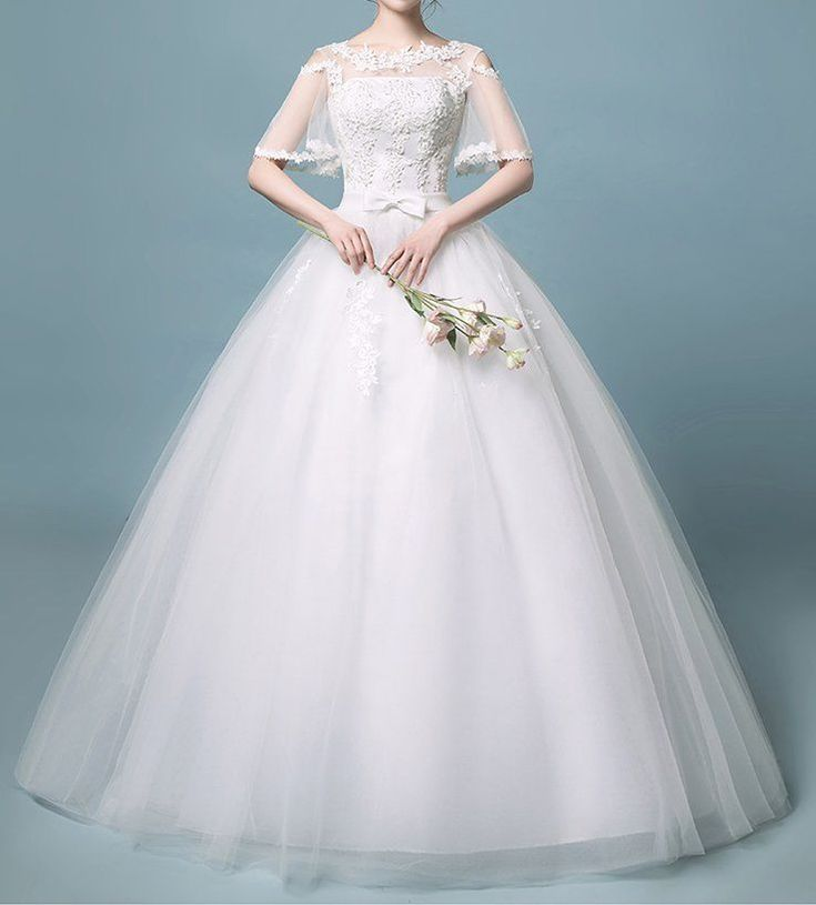 931 best Bridal wedding gown lace flower princess tulle white dress ...