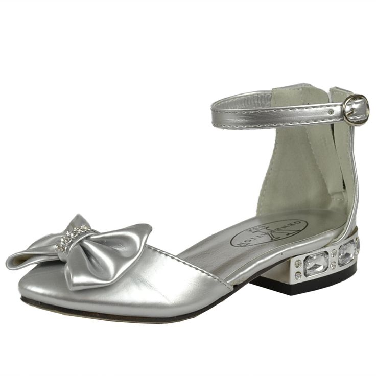 Kids Dress Shoes Metallic Heel Rhinestone Bow Accent Low Heel Pageant Sandals Silver