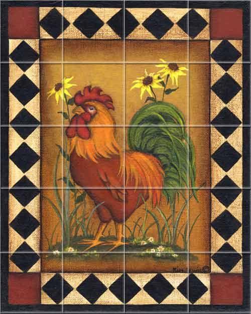 Red Rooster I Kitchen Backsplash Tile Murals