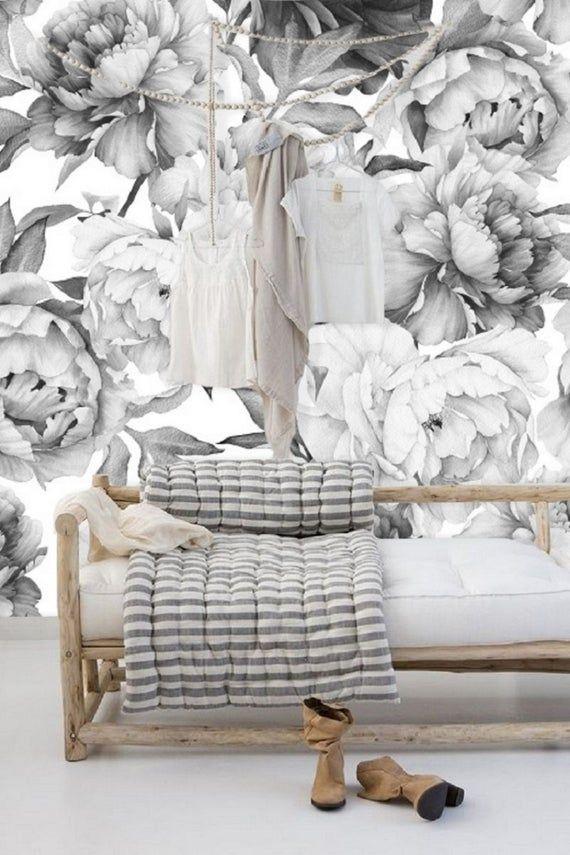 Black And White Floral Wallpaper Mural Peel And Stick Remove Etsy Removable Wallpaper Mural Wallpaper Large Floral Wallpaper