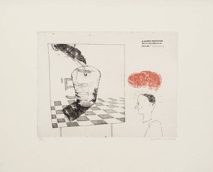 7. Disintegration, from A Rake's Progress, David Hockney