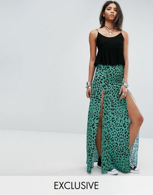Rokoko Chiffon Maxi Skirt With Splits In Leopard