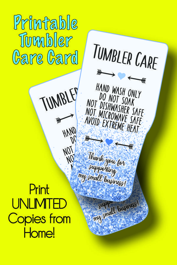 Printable Tumbler Care Card Tumbler Wash Instructions Png 1046531 Objects Design Bundles Hand Lettering Cards Objects Design Design Bundles