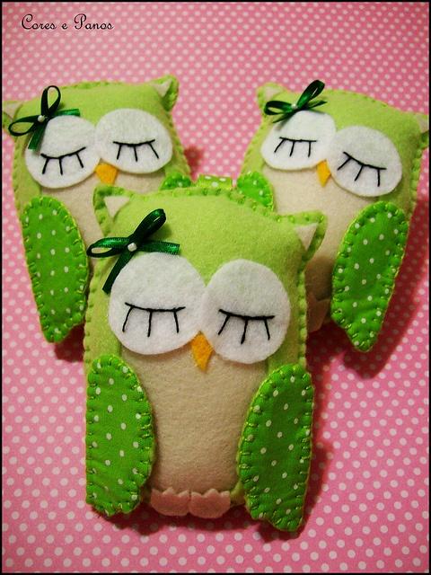 Felt owls - cute for hand warmers