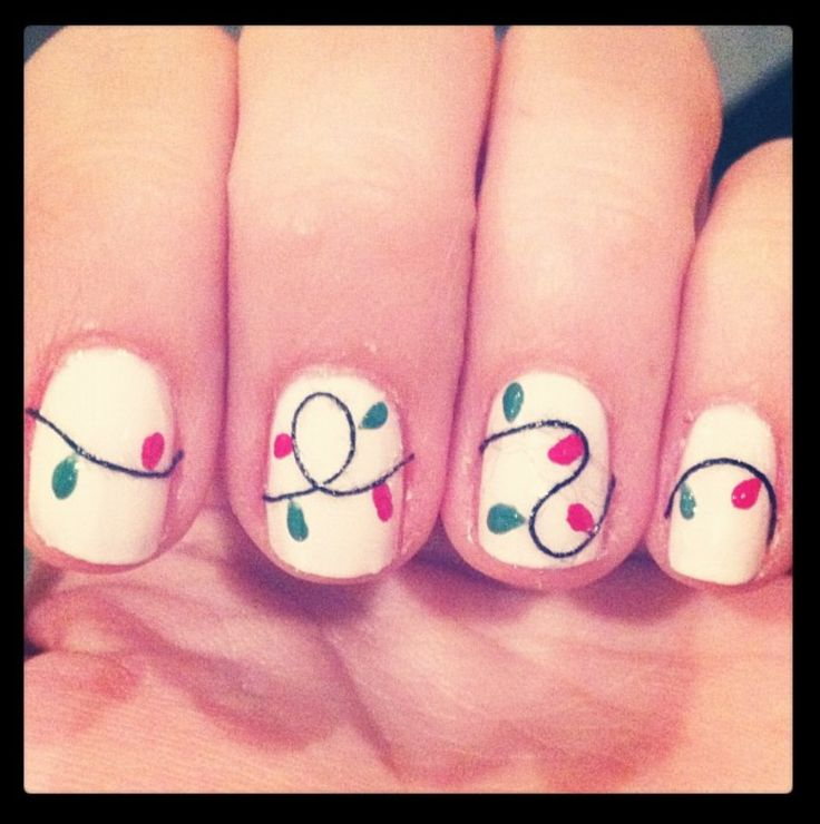 Fun Christmas light nails - to pin under nails or Christmas? Dilemma.