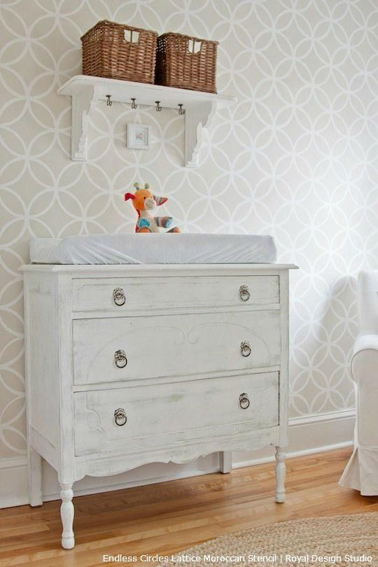 Nursery Decorating Ideas for Chic Stenciled Nurseries - Moroccan Stencil Pattern for Neutral White Baby's Bedroom Walls