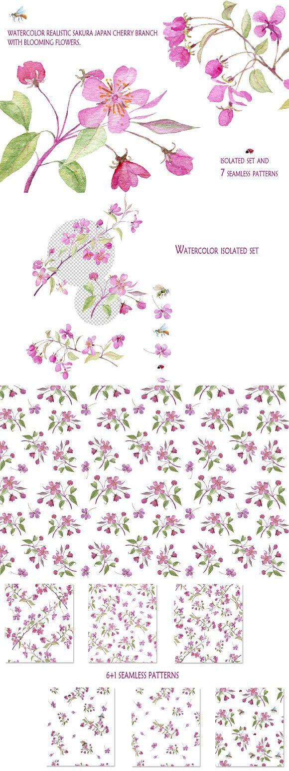 Realistic sakura. japan cherry.. Wedding Card Templates. $8.00
