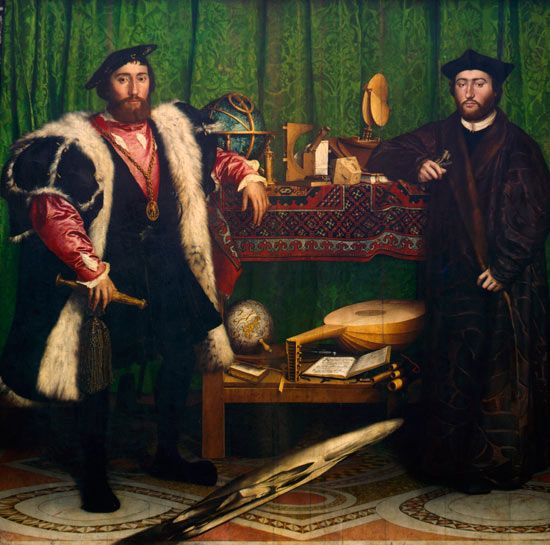 Os embaixadores (1533). Hans Holbein, o jovem (c.1497-1543). óleo e têmpera sobre painel de carvalho 2,07m x 2,09m. National Gallery, Londres, Reino Unido.  Book: FARTHING, Stephen. This is Art. London: Quintessence, 2010.